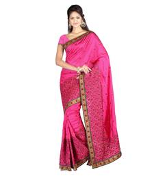 Buy Pink printed silk saree with blouse silk-saree online