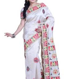 Buy White embroidered art_silk saree with blouse art-silk-saree online