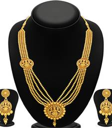 Buy Attractive Five Strings Temple Jewellery Gold Plated Necklace Set necklace-set online