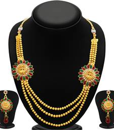 Buy Classy Three Strings Temple Jewellery Gold Plated Necklace Set necklace-set online