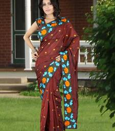 Buy Maroon embroidered silk saree with blouse silk-saree online