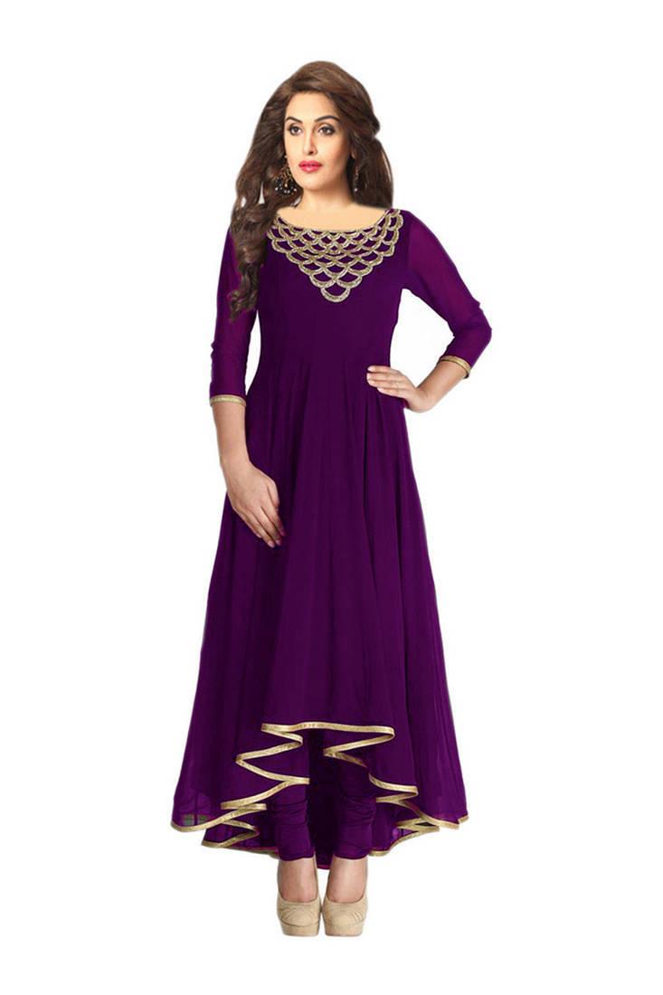 Buy Purple Embroidered Kurtas And Kurtis Online