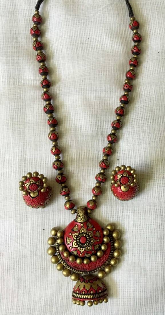 Buy Red And Antique Gold And Terracotta Jewellery Online