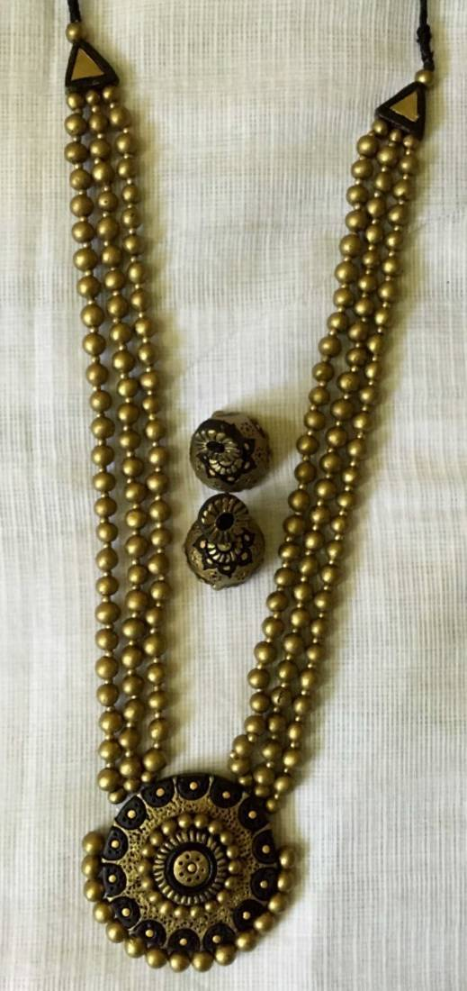 Buy Black And Antique Gold And Terracotta Jewellery Online
