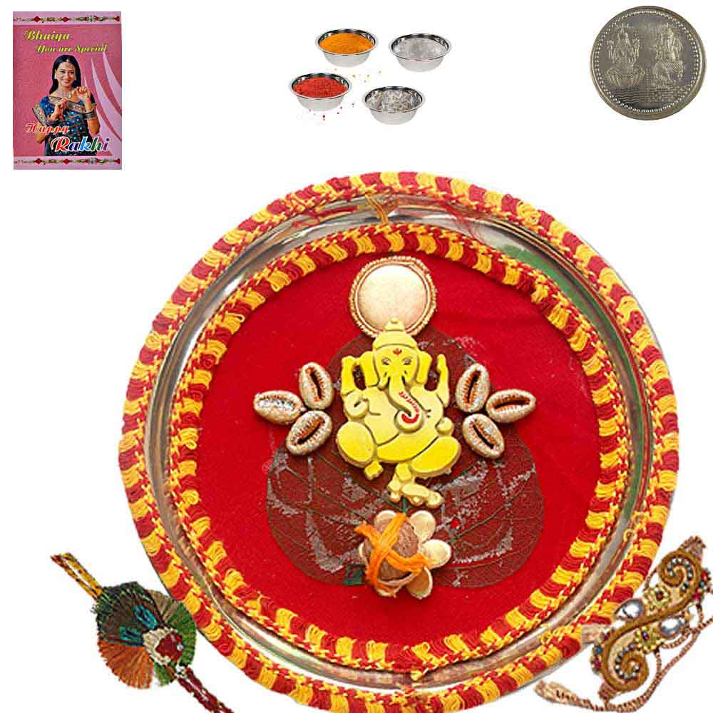 Wedding Gift For Brother India : Buy Send to Brother Rajasthani Rakhi Pooja Thali Gift Online