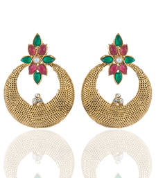 Buy Polki Honeycomb Design Hoops Earrings in Maroon Green hoop online