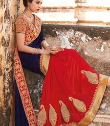 Buy BLUE and  RED embroidered georgette saree with blouse georgette-saree online