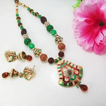 Meenakari Bell Pendant Necklace Brown Green