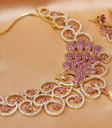 Buy Gorgeous high gold plated Cz   Peacock  designer  necklace set necklace-set online