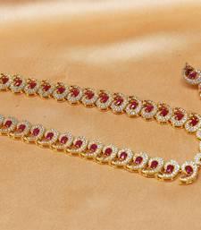 Buy Gorgeous high gold plated CZ  designer  Peacock   necklace set necklace-set online