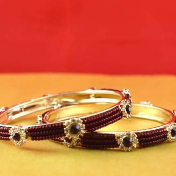 gold moti stone cz polki kundun meenakari pearl bangle kara size-2.4,2.6