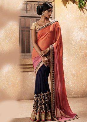navy blue and orange embroidered chiffon saree with blouse