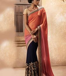 Buy navy blue and orange embroidered chiffon saree with blouse heavy-work-saree online