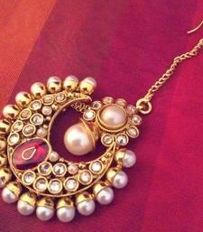 Buy Bollywood bridal traditional ethnic INDIA Pearl Polki Kundan stone Bridal Maang Tikka eid-jewellery online