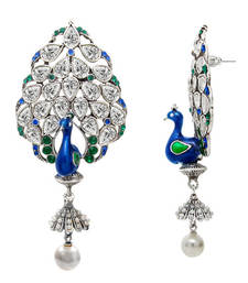 Buy Rhodium Plated Blue and Green Lavish Peacock Earrings for Women danglers-drop online