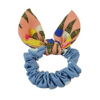 Polka Dot Blue Fabric Hair Rubber Band for Women