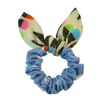 Polka Dot Blue Fabric Hair Rubber Band for Women