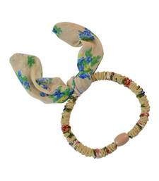 Buy Floral Print Beige Fabric Hair Rubber Band for Women rubber-hair-band online