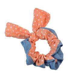 Buy Polka Dot Orange Fabric Hair Rubber Band for Women Other online