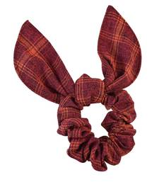 Buy Checks Print Red Fabric Hair Rubber Band for Women Other online