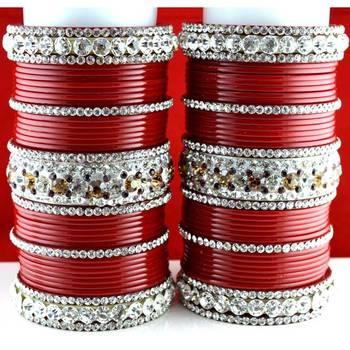 acrylic plastic panjubi suhag chura bangle stone moti with personaliz size-2.4,2.6,2.8