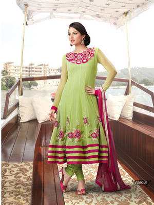 Pista Green Net  Designer Ready made Anarkali