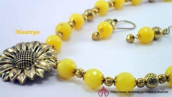 Sunflower yellow agate neckpiece