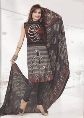 Crepe dress material elegant designer unstitched salwar suit d.no 4330