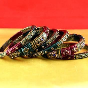 rajasthani lakh bangles muti coulor  stone size-2.4,2.6