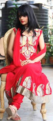 Red Gold Aari Emboidered Anarkali Dress