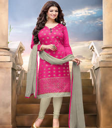 Buy Magenta Embroidered Chanderi unstitched salwar with dupatta dress-material online