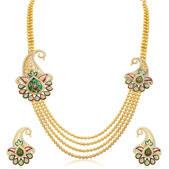 Alluring Four Strings Gold Plated Necklace Set