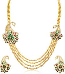 Buy Alluring Four Strings Gold Plated Necklace Set necklace-set online
