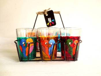 Quirky kitsch cutting chai sets-Love birds