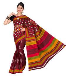 Buy Brown plain cotton_silk saree with blouse below-400 online