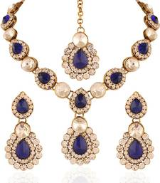 Buy Beguilling Gold plated Australian Diamond Stone  Necklace Set necklace-set online