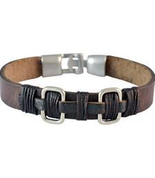 Buy Men  Leather Bracelet Brown color for Everyday wear Bracelet online