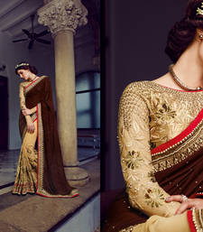 Buy Golden And Brown embroidered georgette saree with blouse heavy-work-saree online