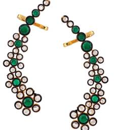 Buy Floral Delight 18K Gold Plated Emerald Green Polki  Ear Cuff Pair for Women Earring online