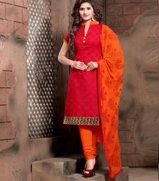 Buy Dark Orange Printed Chanderi unstitched salwar with dupatta dress-material online