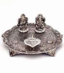 Buy White Metal Lord Laxmi Ganesh With Dia Thali religious-item online