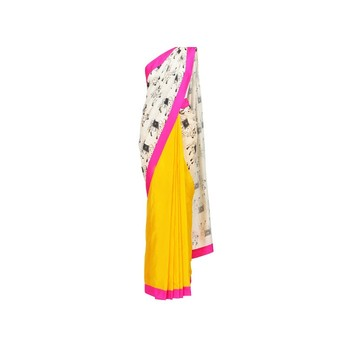 White cow print yellow saree