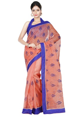 Orange embroidered Supernet saree with blouse