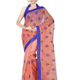 Buy Orange embroidered Supernet saree with blouse supernet-saree online