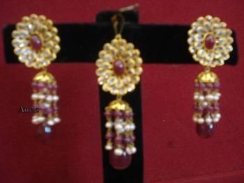 18k gold maroon oval set