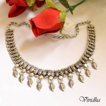 White Metal Silver Finish Necklace