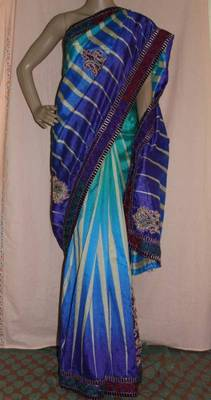 Shades of Blue Jute cotton embroidered saree