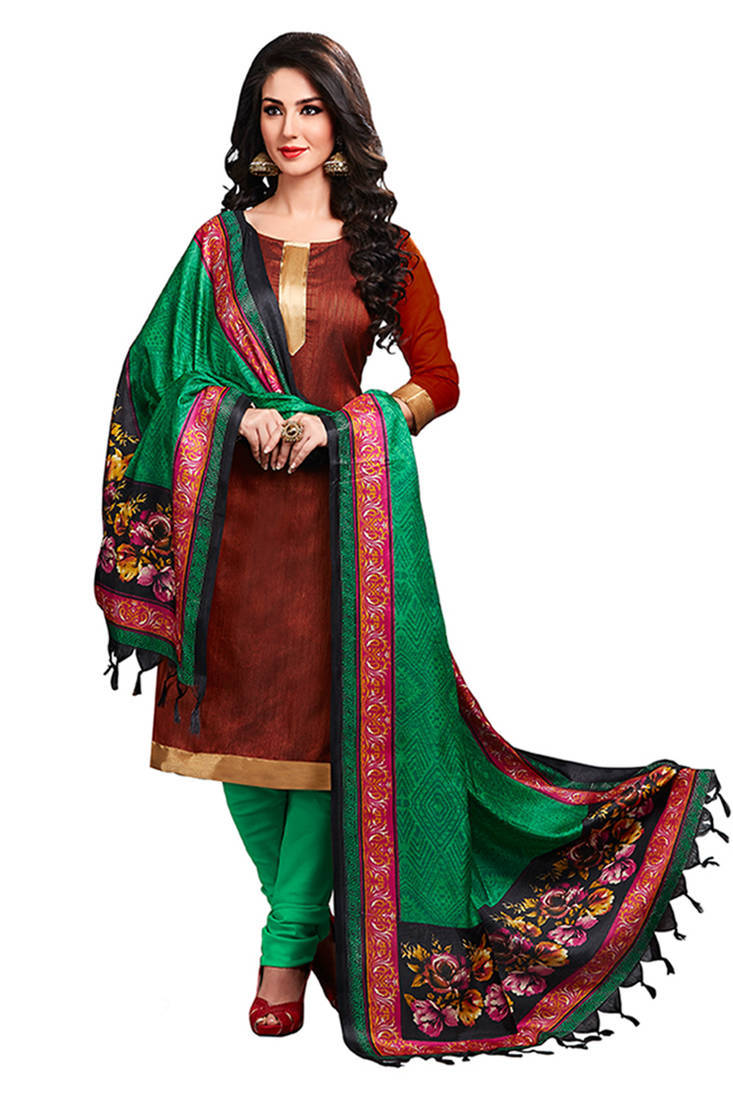 Buy Brown Plain Jute Silk Unstitched Churidar Dress