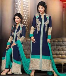 Buy Styles Closet Navy blue embroidered georgette semi stitched salwar with dupatta pakistani-salwar-kameez online