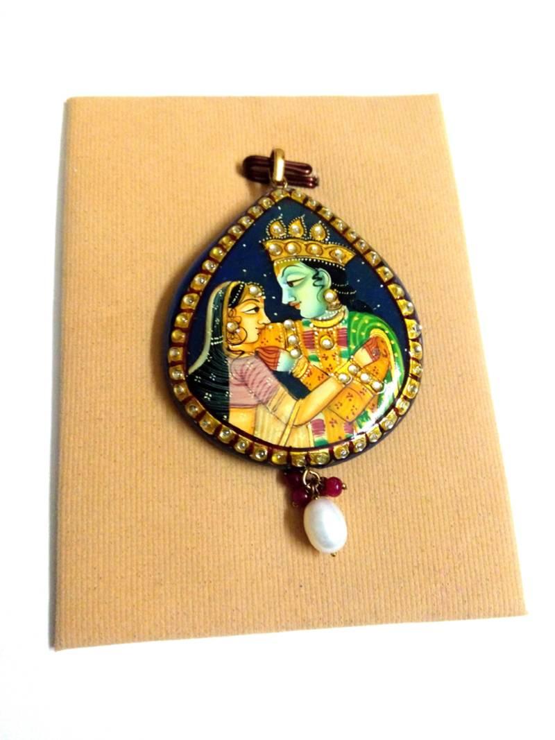 Buy blue tanjore art radha krishna chavi pendant Online